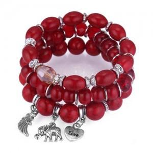Heart Wing and Elephant Pendants Triple Layers Women Fashion Beads Bracelet - Red