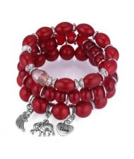 Heart Wing and Elephant Pendants Triple Layers Women Fashion Beads Bracelet - Red