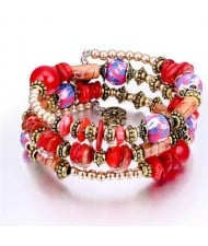 Royal Fashion Assorted Beads Combo Triple Layers Women Bracelet - Red