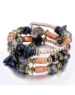 Royal Fashion Assorted Beads Combo Triple Layers Women Bracelet - Black