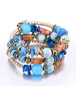 Royal Fashion Assorted Beads Combo Triple Layers Women Bracelet - Blue
