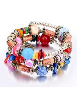 Royal Fashion Assorted Beads Combo Triple Layers Women Bracelet - Multicolor