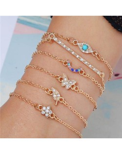 Butterfly Leaf and Flower Elements Multi-layer Charming Fashion Bracelet Set