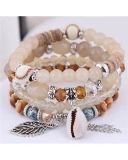 Seashell and Leaf Pendants Multi-layer Beads High Fashion Women Bracelet - Khaki