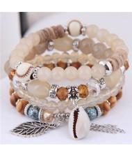 Seashell and Leaf Pendants Multi-layer Beads High Fashion Women Bracelet - Khaki