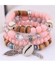 Seashell and Leaf Pendants Multi-layer Beads High Fashion Women Bracelet - Orange