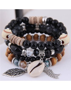 Seashell and Leaf Pendants Multi-layer Beads High Fashion Women Bracelet - Black