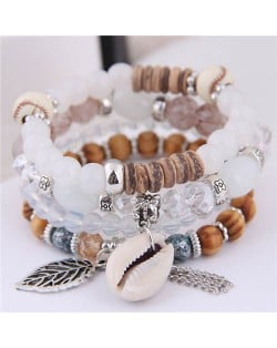 Seashell and Leaf Pendants Multi-layer Beads High Fashion Women Bracelet - White