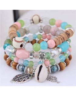 Seashell and Leaf Pendants Multi-layer Beads High Fashion Women Bracelet - Multicolor