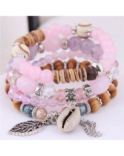 Seashell and Leaf Pendants Multi-layer Beads High Fashion Women Bracelet - Pink