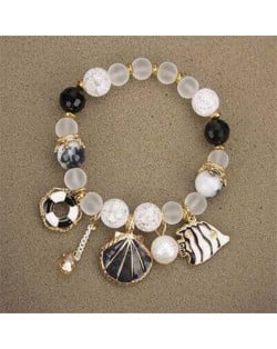 Tropical Fish Seashell and Life Buoy Pendants Beads Fashion Women Bracelet - Black