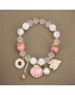 Tropical Fish Seashell and Life Buoy Pendants Beads Fashion Women Bracelet - Pink