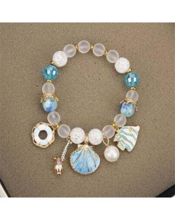 Tropical Fish Seashell and Life Buoy Pendants Beads Fashion Women Bracelet - Blue