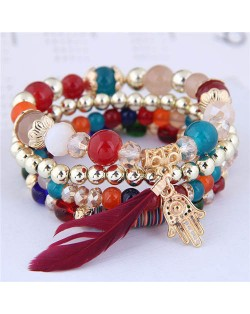 Magic Hand and Feather Decorated Multi-layer Beads Fashion Bracelet - Multicolor