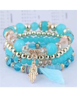 Magic Hand and Feather Decorated Multi-layer Beads Fashion Bracelet - Blue