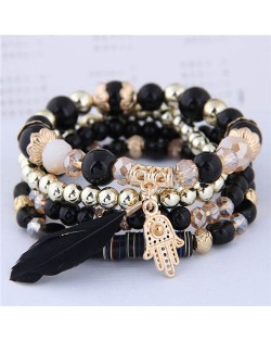 Magic Hand and Feather Decorated Multi-layer Beads Fashion Bracelet - Black