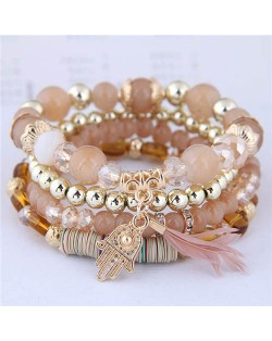 Magic Hand and Feather Decorated Multi-layer Beads Fashion Bracelet - Khaki