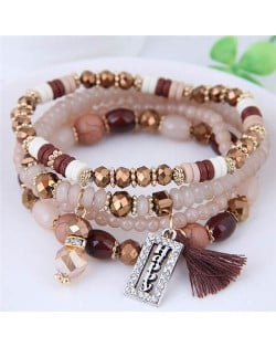 Happy Theme with Cotton Threads Tassel Multiply Layers Beads Fashion Bracelet - Khaki