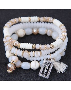Happy Theme with Cotton Threads Tassel Multiply Layers Beads Fashion Bracelet - White