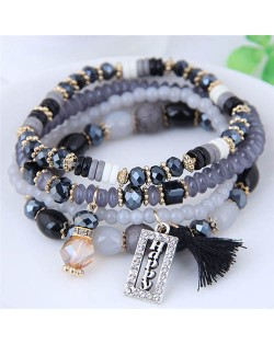 Happy Theme with Cotton Threads Tassel Multiply Layers Beads Fashion Bracelet - Black