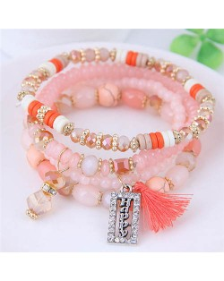 Happy Theme with Cotton Threads Tassel Multiply Layers Beads Fashion Bracelet - Pink