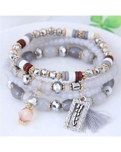 Happy Theme with Cotton Threads Tassel Multiply Layers Beads Fashion Bracelet - Gray