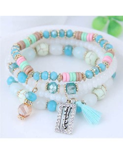 Happy Theme with Cotton Threads Tassel Multiply Layers Beads Fashion Bracelet - Multicolor