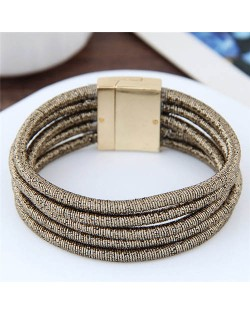 Magnetic Buckle Multi-layer Rope Fashion Women Bracelet - Brown