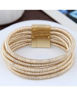 Magnetic Buckle Multi-layer Rope Fashion Women Bracelet - Golden