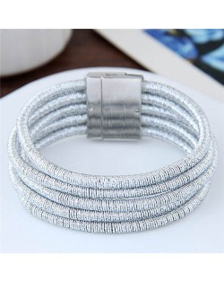 Magnetic Buckle Multi-layer Rope Fashion Women Bracelet - Silver