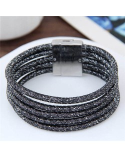 Magnetic Buckle Multi-layer Rope Fashion Women Bracelet - Black