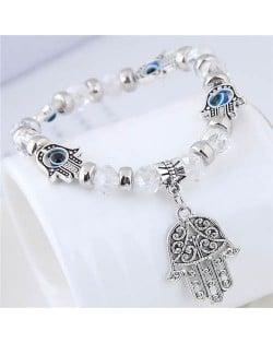 Magic Hands Theme Beads Fashion Women Costume Bracelet - White