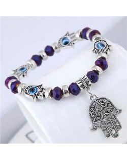 Magic Hands Theme Beads Fashion Women Costume Bracelet - Purple