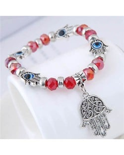 Magic Hands Theme Beads Fashion Women Costume Bracelet - Red