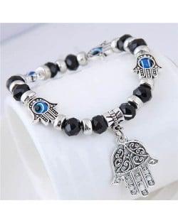 Magic Hands Theme Beads Fashion Women Costume Bracelet - Black