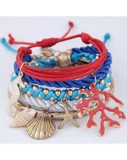 Beach Fashion Sea Elements Pendants Weaving Design Combo Style Women Bracelet