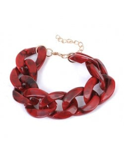 Acrylic Chain Fashion Women Costume Bracelet - Red