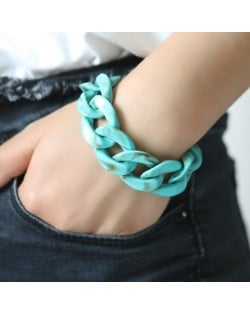 Acrylic Chain Fashion Women Costume Bracelet - Teal