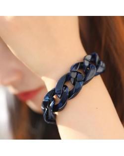 Acrylic Chain Fashion Women Costume Bracelet - Dark Blue