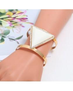 Rhinestone Embellished Triangular Resin Gem High Fashion Women Bangle - White