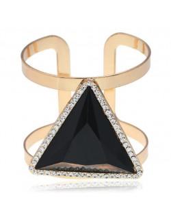 Rhinestone Embellished Triangular Resin Gem High Fashion Women Bangle - Black
