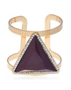 Rhinestone Embellished Triangular Resin Gem High Fashion Women Bangle - Coffee