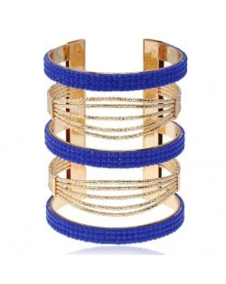 Beads Embellished Bold High Fashion Women Alloy Bangle - Blue