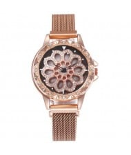 7 Colors Available Hollow Floral Pattern Rotating Index Design Fashion Wrist Watch