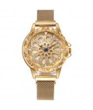 8 Colors Available Hollow Floral Pattern Rotating Index Design Fashion Wrist Watch