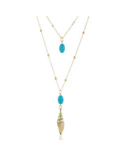 Artificial Turquoise and Conch Combo Design Two Layers Women Fashion Necklace