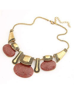 Resin Gems Embellished Vintage Tribe Fashion Women Bib Necklace - Red