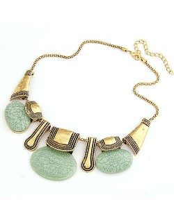Resin Gems Embellished Vintage Tribe Fashion Women Bib Necklace - Green