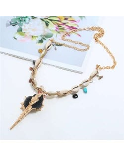 Conch Pendant Seashell Chain Design High Fashion Women Costume Necklace - Black