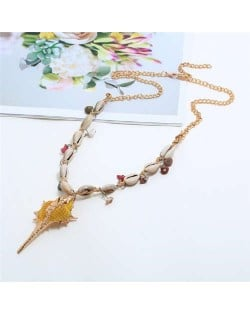 Conch Pendant Seashell Chain Design High Fashion Women Costume Necklace - Yellow